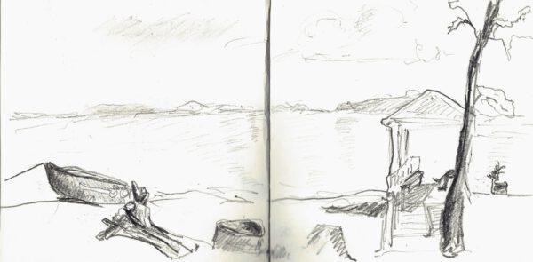 """Skizzenbuch """"Boote am Strand"""" von Anne Hille"""